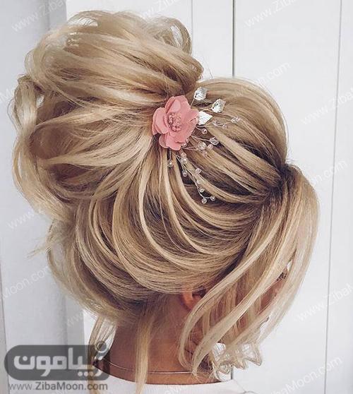 شنیون مو حرارتی عروس با اکسسوری و گل