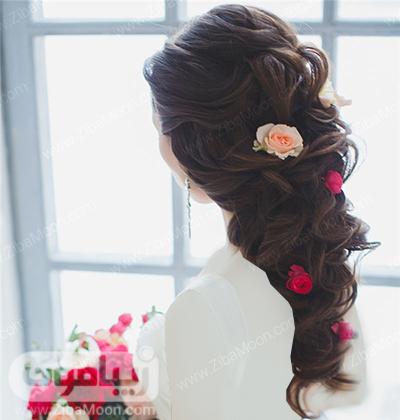 مدل مو باز عروس با گل رز صورتی