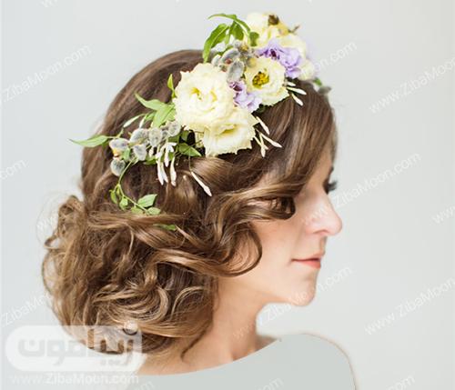 مدل مو و شنیون عروس با تاج گل طبیعی