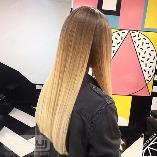 موهای صاف با رنگ مو آمبره
