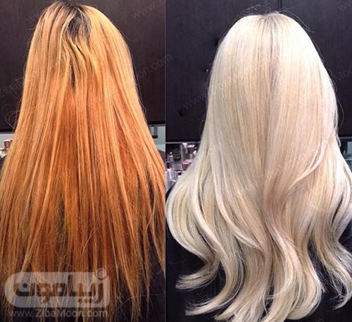 نارنجی شدن رنگ مو بلوند