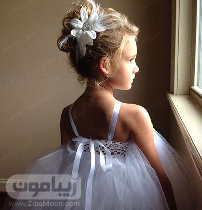 مدل مو با گل بزرگ برای دختر بچه در عروسی