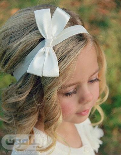 مدل مو بچگانه با تل پاپیونی سفید