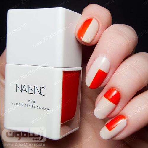 مدل ناخن با لاک کرمی و نارنجی