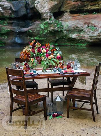 تزیین میز شام عروسی با گل های پاییزی