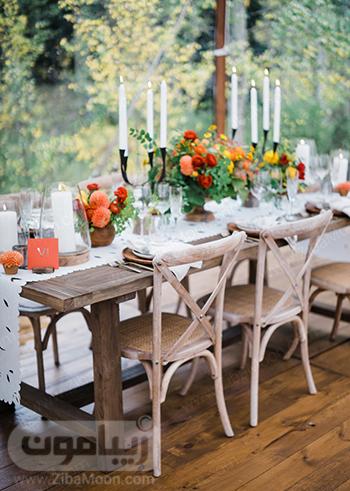 مدل تزیین میز شام برای عروسی در فصل پاییز