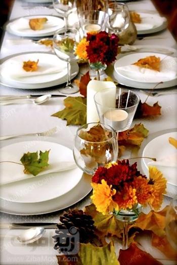میزآرایی عروسی با برگهای رنگارنگ پاییزی
