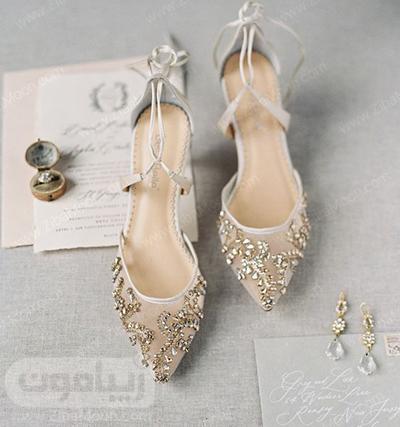مدل کفش عروس توری و نگین کاری شده