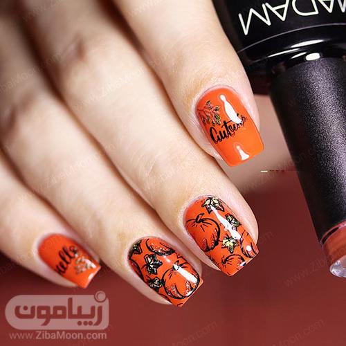 مدل ناخن پاییزی با لاک نارنجی