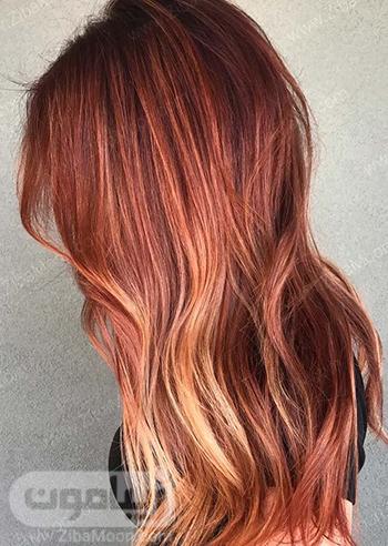 رنگ مو قرمز آتشی با هایلایت های بلوند