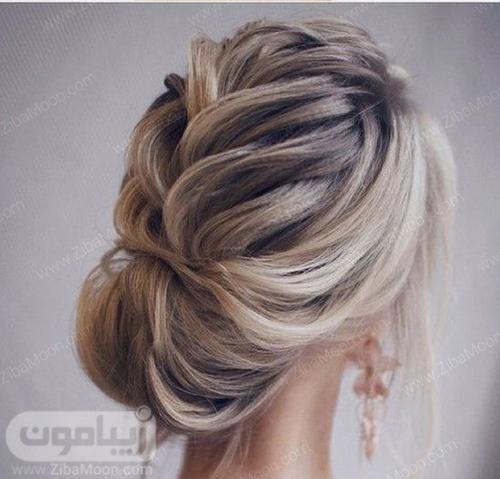 مدل شینیون مو خطی برای موهای روشن