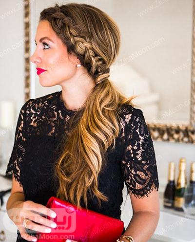 مدل مو یکطرفه و موج دار به همراه بافت مو شیک