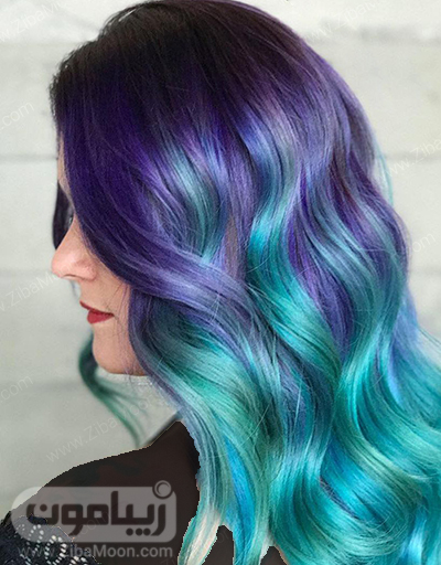 رنگ مو فانتزی بنفش و سبز