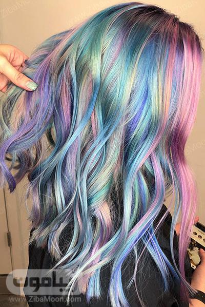 رنگ مو رنگین کمانی با رنگ های سرد
