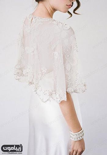 شنل عروس شکوفه دوزی شده