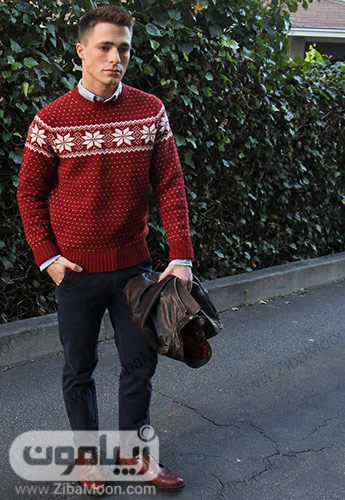 استایل مردانه با پلیور زمستانی و شلوار جین