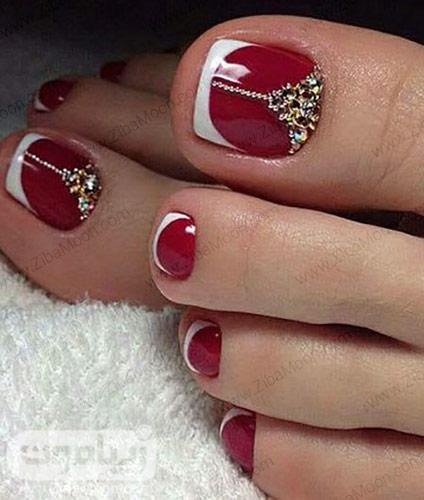 فرنچ ناخن پا با لاک قرمز و سفید
