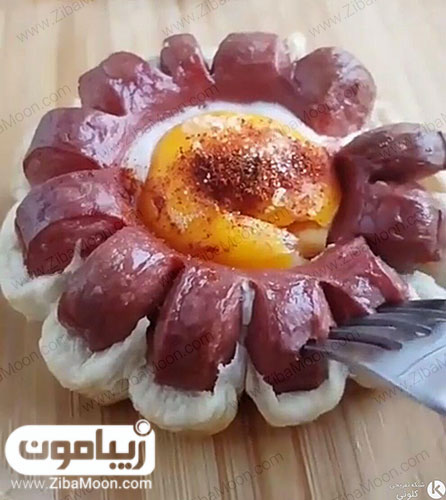 سوسیس تخم مرغ گل