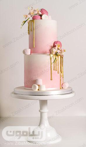 کیک عروسی خاص و جذاب به رنگ صورتی پاستیلی