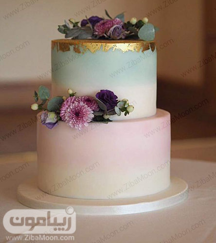 کیک عروسی دو طبقه آبی و صورتی ملایم