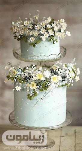 کیک عروسی دو طبقه سبز نعنایی با تزیین گلهای ریز