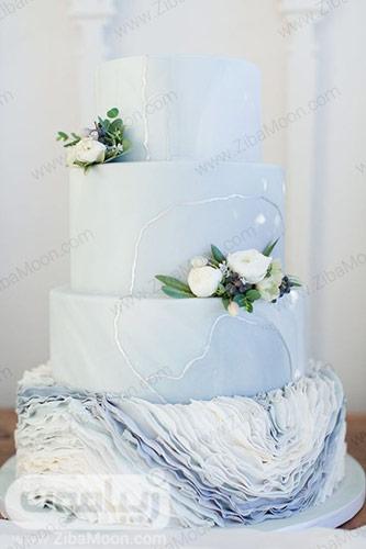 کیکی عروسی شیک و خاص به رنگ آبی پاستیلی
