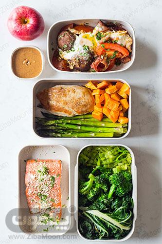 غذای سالم و سبزیجاتی و پرپروتئین