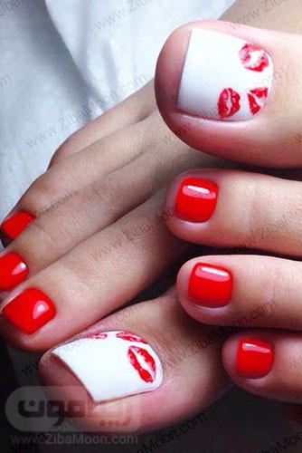 دیزاین ناخن پا برای ولنتاین