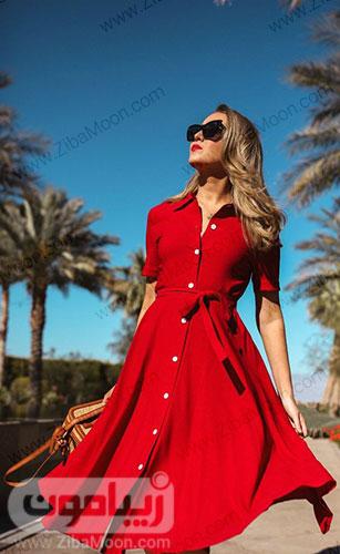 پیراهن قرمز زنانه