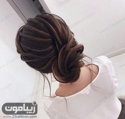 شینیون مو خطی و زیبا برای عروسی