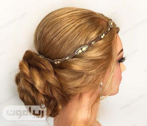 مدل شینیون زیبا با بافت مو تل زیبا