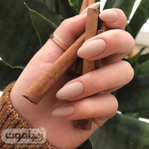 مدل ناخن بادامی با لاک ساده به رنگ نود