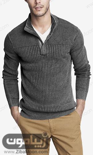 استایل مردانه با پلیور بافتنی خاکستری و جذاب