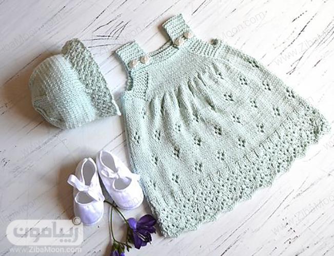 مدل لباس و کلاه بافتنی نوزادی دخترانه
