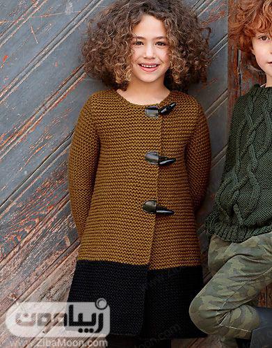 لباس بافتنی ساده و زیبا برای بچه ها