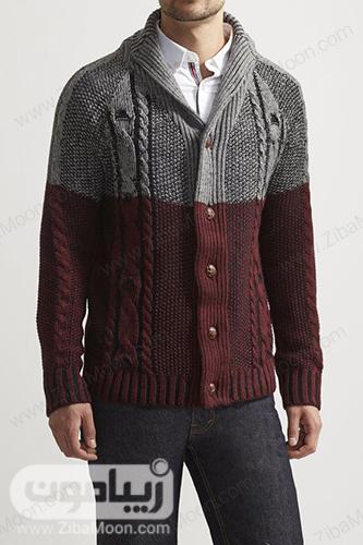 مدل استایل زمستانی پسرانه با لباس بافتنی دورنگ شیک و خاص