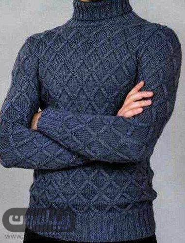 مدل لباس بافتنی مردانه یقه اسکی با طرح لوزی و رنگ سورمه ای