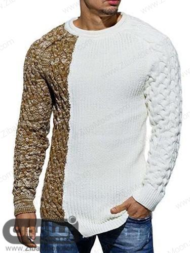 مدل لباس بافتنی مردانه سفید و کرمی