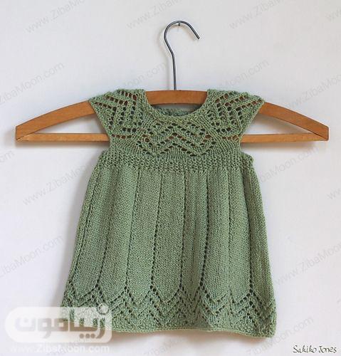 مدل لباسبافت نوزادی دخترانه به رنگ سبز