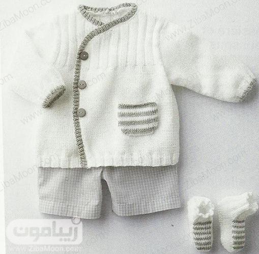 مدل لباس و پاپوش بافت نوزادی به رنگ سفید