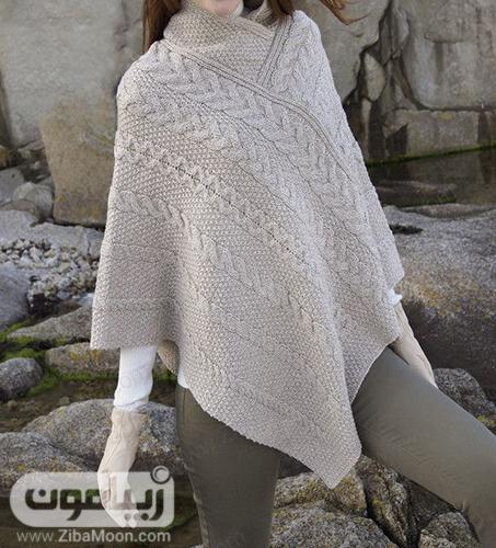 مدل پانچو دخترانه بافتنی به رنگ خاکستری روشن