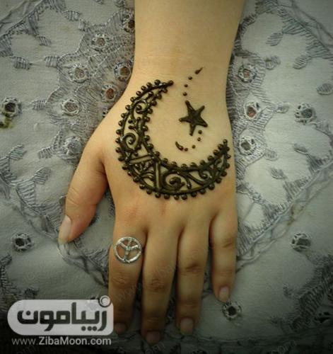 نقش حنا زیبا با شکل ماه و ستاره