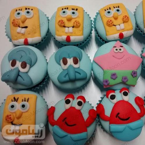 کاپ کیک برای تم تولد باب اسفنجی