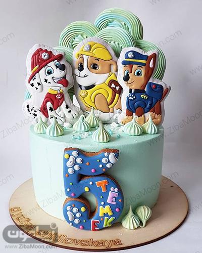 کیک تولد با تم سگهای نگهبان
