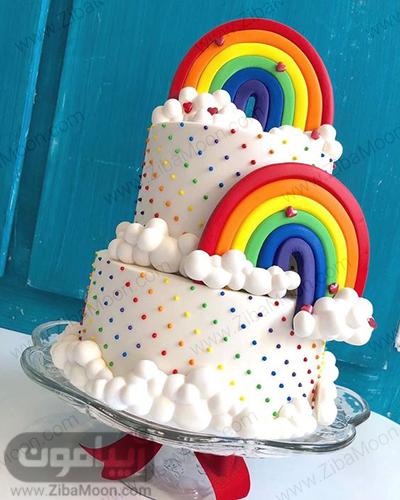 کیک رنگین کمانی دو طبقه