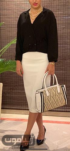 لباس مجلسی با دامن متوسط سفید و کت مشکی
