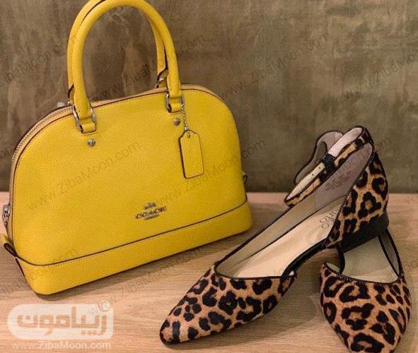 کیف زنانه زرد و کفش با طرح پلنگی