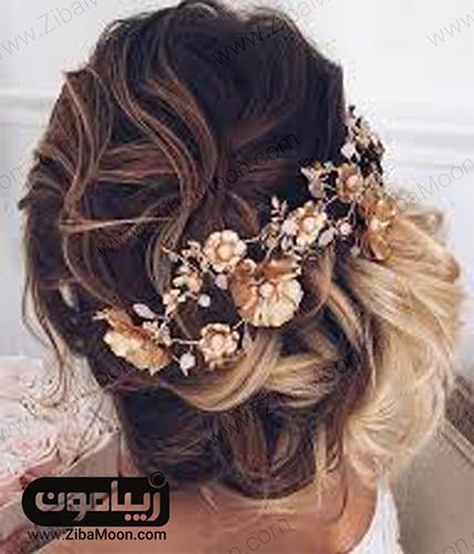 مدل موی عروس با تاج گل