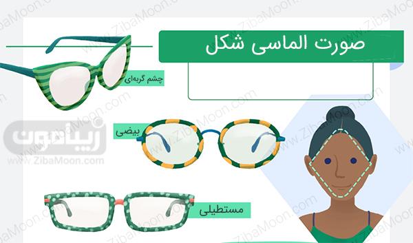 عینک برای صورت الماسی