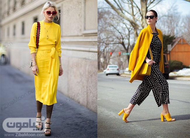 استایل بهاری با لباس زرد